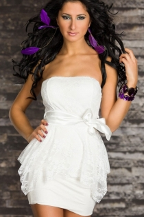 Gorgeous Royal True White Silky Partly Overlaid By Floral Sheer Fabric With Shiny Smooth Ribbony Side Belt
