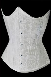 White Victorian Underbust Corset of Subtle Floral Brocade Pattern, Front Busk