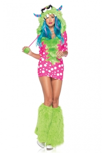Playful Charmer Bright Pink White Polka Dots Arm Length Skimpy Dress With Neon Green Fur Design