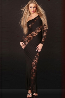 Red-Carpet Black Maxi Dress With Curvy Lace Bands and Single Sleeve, Solid Back and Detached Lace Sleeve