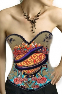 Pin-up Green Overbust Lace Trimmed Rhinestone Corset With Colorful Poison Love Design