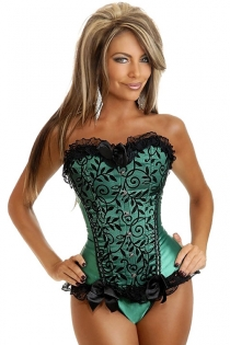 Green Satin Corset With Black Floral Pattern on Front Panels, Lace Ruffle Trim and Bows, Front Busk