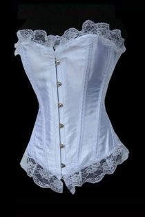 White Victorian Corset With Generous Lace Ruffle Trim, Front Busk