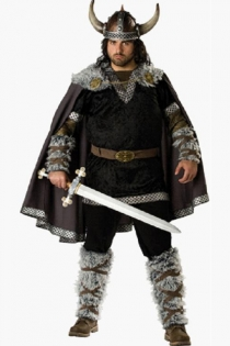Exciting Warrior Inspired Look Dark Brown Cape With Nice Edge Prints and Smooth Black Top