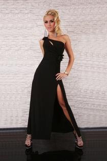 Interesting High Left Slit Charming Right Shoulder Strap Teasing Top Mini Cut Long Gown