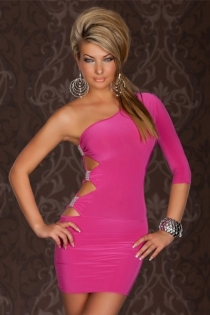 Ultra-Sexy Pink One-Shoulder Bodycon Dress With Side Cut-Outs and Silver Brooch Detail