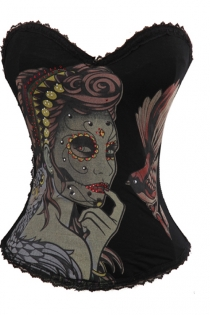 Black Bird Mistress Tattoo Corset With Multicolor Art Detail and Diamante, With Black Lace Trim