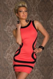 Coral Bodycon Pencil Mini Dress With Black Trim and Elegant Black Patterning
