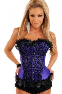 Indigo Satin Corset With Black Floral Pattern on Front Panels, Lace Ruffle Trim and Bows, Front Busk