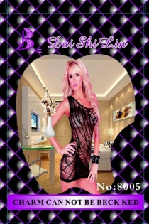 Black Sheer One-Shoulder Bodystocking Dress With Sliced Web-style Detailing and Solid Black Trim