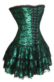 Gorgeous Green Corset Dress With Floral Lace Overlay and Ruffle-Layered Skirt and Lace-up Front