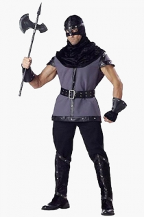 Hot Punisher Look Light Purple Top Accentuated By Black Leatherette Belt and Edges With Long Dark Pants