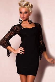 Black Spaghetti Strap Mini Dress and Attached Lace Jacket With Assymetrical Flounce Sleeves