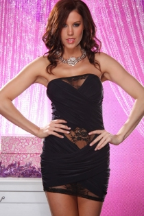 Black Strapless Mini Dress With Cross-over Front Design and Peeking Black Floral Lace