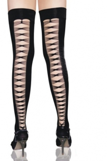 Black Opaque Thigh-High Stockings With Open Backs in Ruched Strings Diamond Pattern
