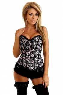 Sexy Pink Corset With Black Floral Lace Overlay, Ribbon Ruffle Trim and Bows, Front Busk