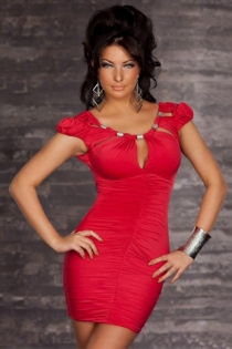 Red Mini Dress With Ruched Bodice, Puff Sleeves and Scoop Keyhole Neckline With Metalic Accents