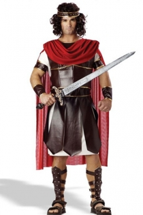 Mighty Gladiator Stylish Men Design Dark Glossy Brown With Golden Patterned Sequence and Red Cape