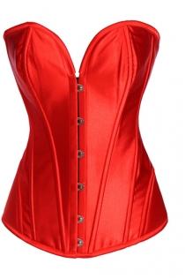 Intimate Victorian Fiery Red Satin Corset With Steel Bones, Sweetheart Neckline, Front Busk