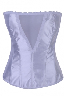 White Satin Boned Overbust Corset With White Lace Trim, Sheer Bust Panel, and White Lace-up Back