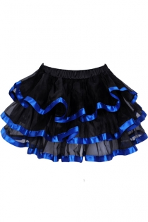 Exquisitely Black Layered Ruffles Light Gauzy Mini Skirt With Glossy Solid Royal Blue Lining