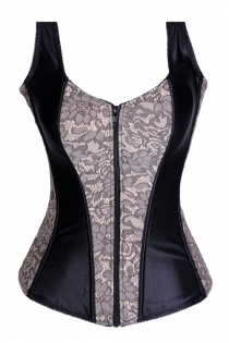 Black Satin Corset With White Floral Panels, Shoulder Straps, Zip Up Front, and Satin Lace-up Back Closure