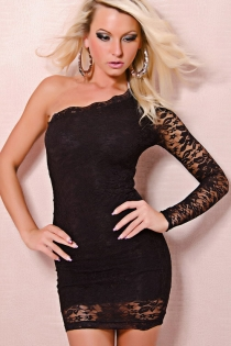 One-shoulder Floral Lace Mini Dress With Lined Bodice and Sheer Long Sleeve and Hem