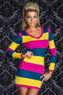 Color Block Mini Dress in Yellow, Pink and Blue With Long Sleeves and V Neck