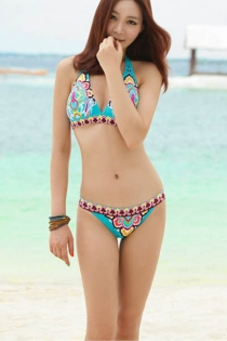 Pale Blue Bikini Swimsuit With Yellow, Red and Pink Bohemian Print, and Halter-style Straps on Top