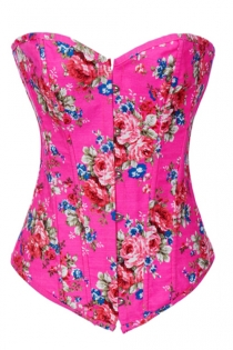 Spring-Time Pink Overbust Denim Corset With Retro Rose Flower Pattern, Front Busk