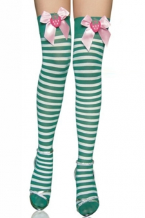 Green Strawberry Thigh-High Stockings, White-Striped, With Pink Welt Bows Featuring Strawberries