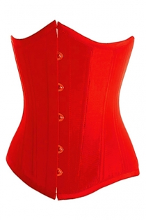 Essential Fiery Red Satin Underbust Waist Training Corset With Simmering Effect for Every Occasion, Front Busk
