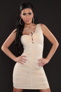 Super Soft Cream Satin Clubwear Bodycon Dress With One-Shoulder Detailing and Crystal Brooches