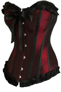 Shimmering Burgundy Victorian Training Corset With Black Ruched Ribbon Trim, Strips and Bow, Front Busk
