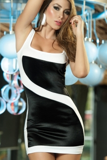 White Mini Dress With Square Neck and Black Satin Color Block Front