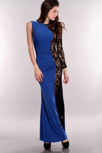 Entrancing Royal Blue Long Gown With Exciting Partly Sheer Right Side Floral Longsleeve