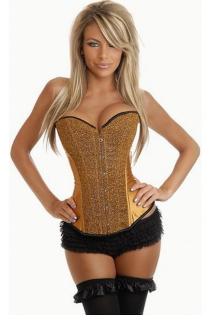 Gold Satin Corset for Clubbing With Shinning Textured Front Panels and Black Trim, Front Busk