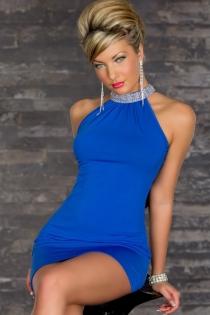 Elegant Blue Mini Dress With Rhinestone Turtle Neck, Cowl Back and Bodycon Skirt
