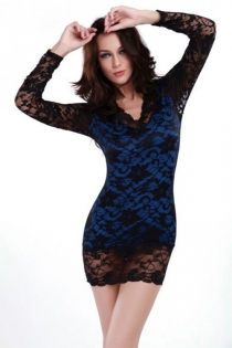 Enticing Black Lacy Mini Dress, Lined in Blue, With Sheer Long Sleeves and Back, V Neckline