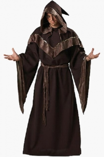Long Dark Brown Sorcerer Man Inspired Fabulous Style With Glossy Brownish Edges