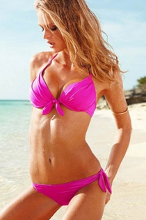 Solid Hot Pink Halter-Style Bikini Swimsuit With Front Tie Closures on Top and Side Ties on the Bottom