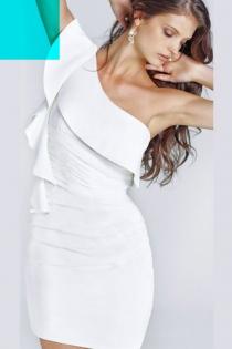 Classy White One-shoulder Mini Dress With Foldover Neckline and Ruffle Side Fringe