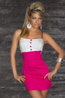 Pink and White Strappy Clubwear Mini Dress With Pink Button-Up Front and Back Bow