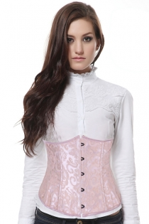 Sexy Ivory Lace Waist Corset With Pink Ribbon Trim and Black Metal Clasps