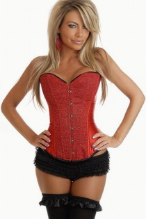 Fiery Red Satin Corset for Clubbing With Shinning Textured Front Panels and Black Trim, Front Busk