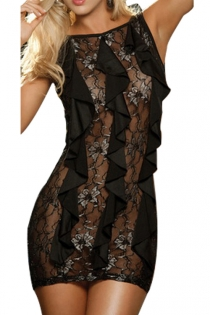 Black Bodycon Mini Dress With Floral Lace Front and Vertical Ruffle Fringe, Low Back With String