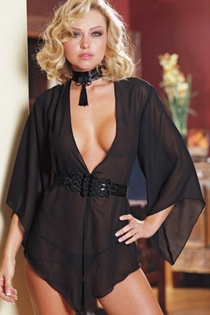 Intimate Sheer Black Chiffon Robe With Angel Sleeves and Intricately Woven Ribbon Belt