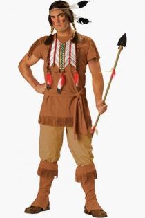 Exotic Hot Indian Warrior Soft Brown Shirt Khaki Pants Nice Center Top Sequence