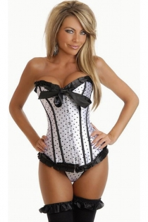 Playful White Satin Corset With Black Polka Dots, Ruched Ribbon Trim and Center Bow, Front Busk