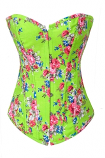 Spring-Time Lime Green Overbust Denim Corset With Retro Rose Flower Pattern, Front Busk